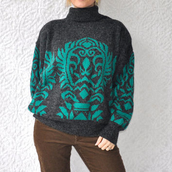 80s Oversized TurtleNeck Sweater from Bonnie Lee of LeRoy/ Turquoise Teal & Gray Preppy Sweater. Boho Hippie Winter Fashion/ Large or XL