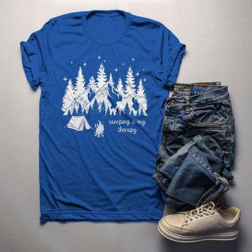 Men's Camping Therapy T Shirt Mountains Tent Graphic Tee Camper Nature Stars TShirt