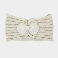 Women's Beige Knit Ear Warmer Headband Head Wrap with Beautiful Bow Beaded Applique Winter Hats Winter Accessories Headbands
