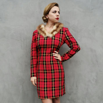 80's/90's Plaid Dress, Twin Peaks Red Tartan Long Sleeve Pencil Skirt by You Babes
