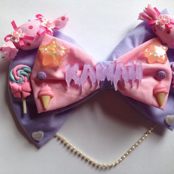 Giant Loaded Sweet Lolita Hair Bow Candy Sweets Pastel Pink Purple Fairy Kei Kawaii