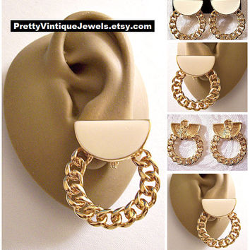 Monet Link Chain Hoops Clip On Earrings Gold Vintage Beige Half Circle Striped Edge Curb Rings Brushed Backs Comfort Paddles