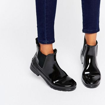 Hunter Original Refined Black Gloss Chelsea Wellington Boots at asos.com