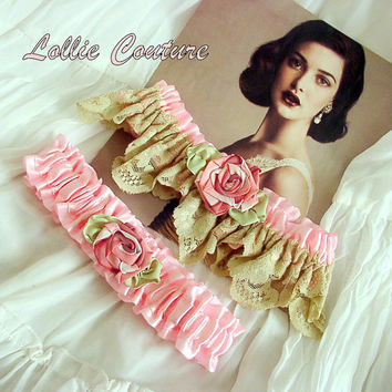 Vintage style Wedding Garter setby Lollie Couture by lolliecouture