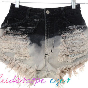 Vintage Bongo HIGH WAIST Ombre Dip Dyed Denim Destroyed Cut Off  Shorts XS