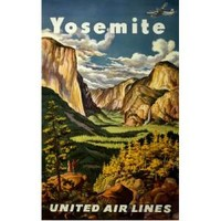 NEW! Vintage Yosemite United Air Lines Wall Art Print Travel Poster