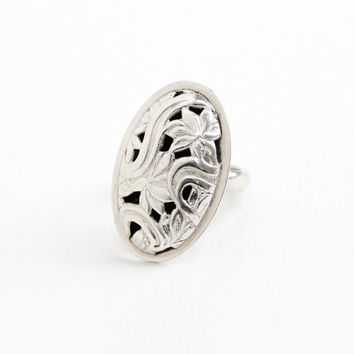 Vintage Sterling Silver Leaf & Swirl Design Oval Shield Ring - Retro Hallmarked Beau Adjustable Statement Art Nouveau Style Jewelry