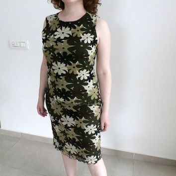 Sexy Camo dress, 2 piece set Retro Camouflage Skirt and Sleeveless Top in Green and brown, Vintage Cameo set, Military style, size L