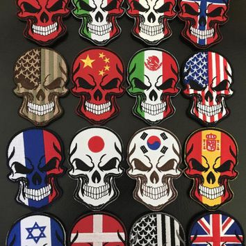 2pcs U.S. Korea Russia France Italy Turkey Canada Spain Swiss Flag Patch Embroidery Skull Tactical Badge Military Armband Emblem