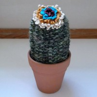 Knitted Wool Cactus with Colorful Crocheted Flower by OneSClark