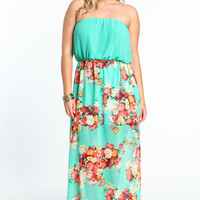 PLUS SIZE CHAINED FLORAL GARDEN MAXI DRESS