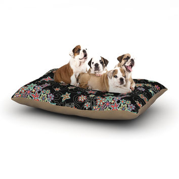 """Julia Grifol """"My Small Flowers"""" Black Floral Dog Bed"""