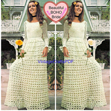 1970s Retro BOHO Wedding Dress-Vintage Knit and Crochet Pattern-crochet wedding dress pattern-Knitting Pattern-Instant Downlod-Maxi DressPDF