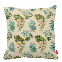 Victorian Sofa Pillows Blue Throw Pillow Antique Accent Pillows Cushion Cover Decorative Pillow Covers Cute Pillows 18X18