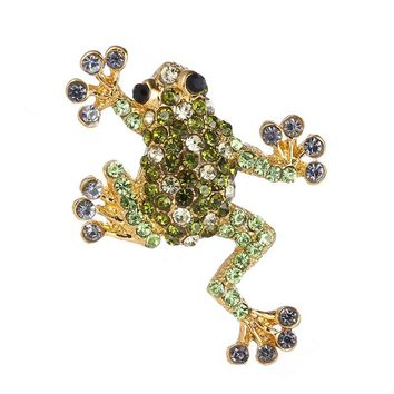 Trendy Rhinestone Animal Frog Brooch Pins Crystal Brooches for Women Decoration Jewelry Clothes Accessories