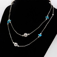 Silver Southwest Necklace, Howlite, Silver Beading, Vintage Southwest Jewelry