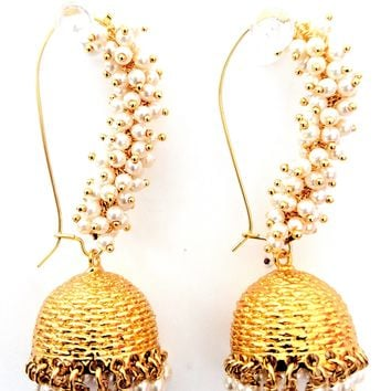 Pearl clustered statement Jhumka Earring