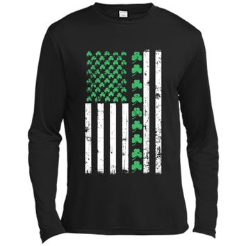 American Flag St Patricks Day Vintage Irish Lucky Long Sleeve Moisture Absorbing Shirt