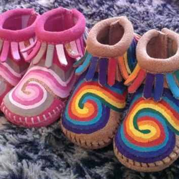 Custom Painted Psychedelic Tie Dye Swirl Baby Moccasins
