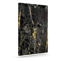 "KESS Original ""Gold Fleck Black Marble"" Digital Abstract Canvas Art"