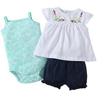 Infant Girls Tropical Fun 3 Piece Pants Set