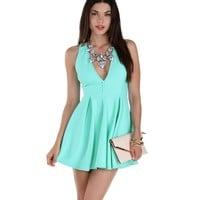 Mint Strappy Back Skater Dress
