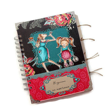 Handmade Custom Cook Book, Turquoise, Hot Pink and Black Recipe Book, Mother's Day Gift, Recipe Holder, Custom Recipe Book