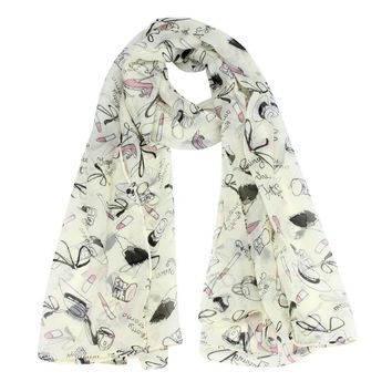 JECKSION Women ponchos and capes Lipstick High-heeled Graffiti Bowknot Scarf Chiffon Scarves bufanda del invierno #LYW