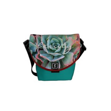 Beauty mint green cactus photo mini messenger bag