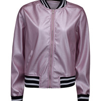 Pink Long Sleeve Bomber Jacket
