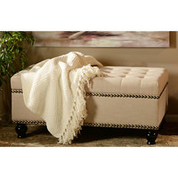 Adler Ivory Tufted Storage Bench | Kirklands
