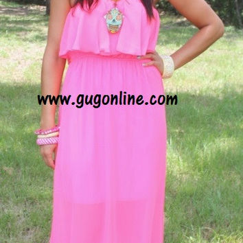 Now or Never Neon Ruffle Maxi Dress