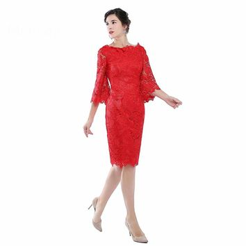 Elegant Red Lace Mother of the Bride Dress with Sleeves Women Formal Evening Party Gowns
