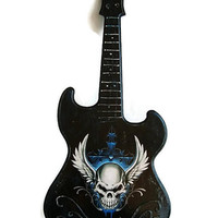 Guitar Wooden Wall Decor, Wall Hanging Guitar, Wooden Shape Guitar Wall Art, Mini guitar Skull, Wings Guitar Panel Musical Decoration
