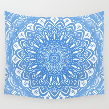 Light Blue Cobalt Mandala Simple Minimal Minimalistic Art Print by AEJ Design