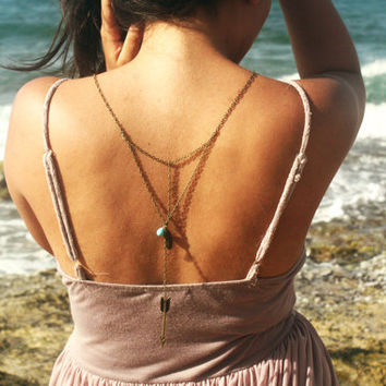 Boho Necklace Back Drop Body Jewelry Bohemian Hipster Turquoise Bead Feather Bird Arrow Charm Bronze Chain Armor