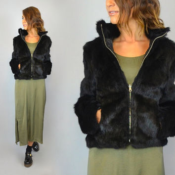 vintage 80's black GENUINE RABBIT FUR boho glam reversible coat jacket, extra small-small