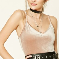 Velvet V-Neck Crop Top