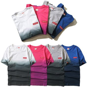 Supreme Gradient Unisex Embroidery T-shirts Bottoming Shirt [11501025292]