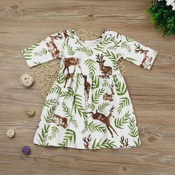 Toddler Kids Baby Girl Short Sleeve Floral Deer Princess Pageant Holiday Dresses