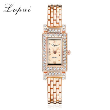 2017 New Arrive Women Bracelet Watch Rectangle Crystal Square WristWatch For Women Ladies Alloy Rose Gold Dress Quartz Watches