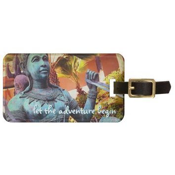 """Adventure"" turquoise warrior photo luggage tag"