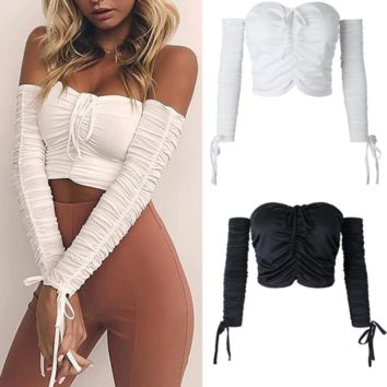 Summer Hot Sexy Beach Stylish Bralette Comfortable Spaghetti Strap Bra Hot Sale Long Sleeve Tops Ruffle Wrap Vest