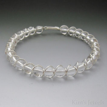 Clear Crystal Quartz Sterling Silver Wire Wrapped Beaded Bracelet