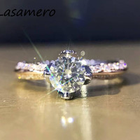 LASAMERO Ring For Women 0.6ct Round Cut Natural Diamond Ring Accents 18k Gold Real Diamond Engagement Wedding Ring