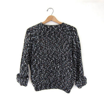 vintage speckled sweater. cropped sweater. spring knit sweater.