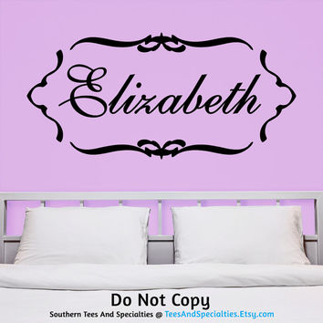 Personalized Vinyl Wall Decal Sticker Monogram Name Lettering Feminine Damask Deco Cute Trendy Stylish