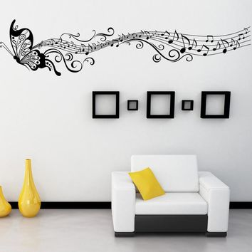 Music Butterfly Pattern   Wall  Stickers  Decals  Art Mural  DIY Home Decor Free Shipping