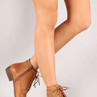 Lace Up Pointy Toe Bootie - Tan