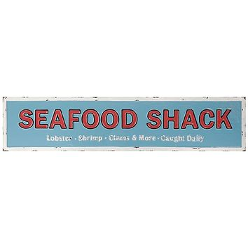 Vintage Embossed Metal Seafood Shack Sign -- 36-in